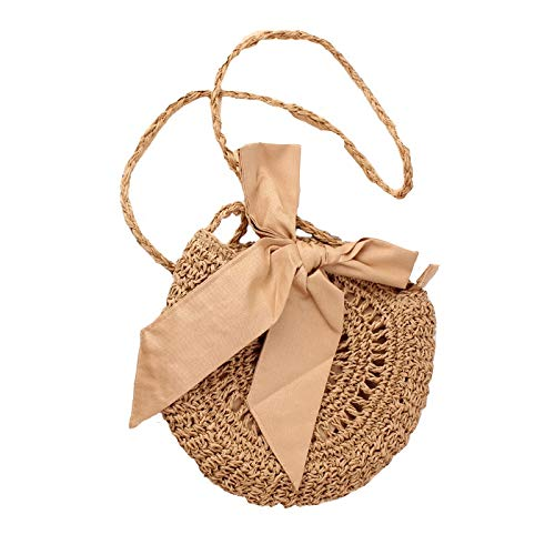 - Round Straw Beach Bag Vintage Handmade Woven Shoulder Bag Raffia Circle Rattan Bags Bohemian Summer Vacation Casual Bags