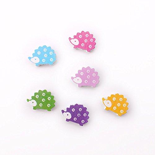 10 Pcs Mini Cute Cartoon Animal Style Fridge Magnet Wood Refrigerator Magnet (hedgehog) ()