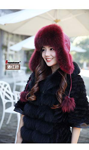 Culturemart Winter New Imitation Faux Fox Fur Hat Dome Warm Female Hat Thicker Russian Cap Fur Hats for Women Bomber Hats ()