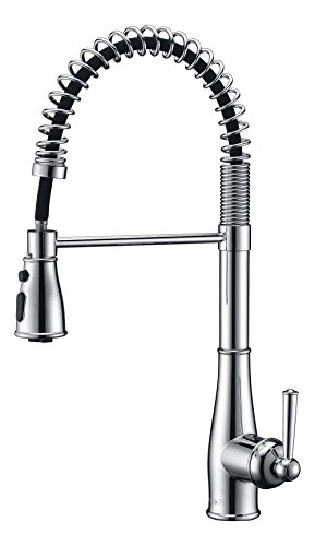 Purelux Knight Commercial Style Coiled Spring One Handle Control 3 Setting Pull Down Kitchen Sink Faucet with Deck Plate, fit for 1 or 3 hole installation, Chrome Finish Professional Kitchen Faucets