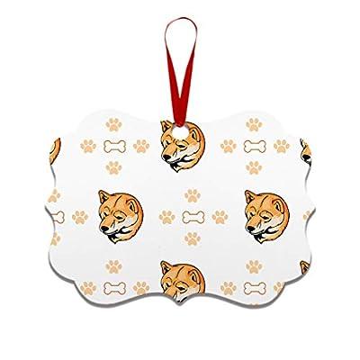 Style-In-Print-Custom-Holiday-Christmas-Ornament-Shiba-Inu-Dog-Bones-Paws-Aluminum