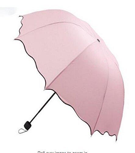 Wendin Parasol Triple Folding Dome Ruffled Sun Rain Umbrella Anti-UV Parasol Pink