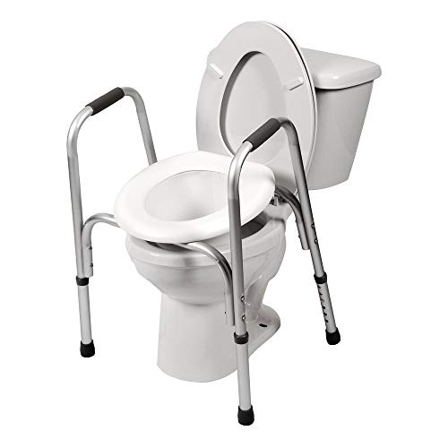 PCP Raised Toilet Seat and Safety Frame (Two-in-One), Adjustable Rise Height, Secure Elevated Lift Over Bowl, Made in USA (Tall Toilet Elevated Ette Seat)