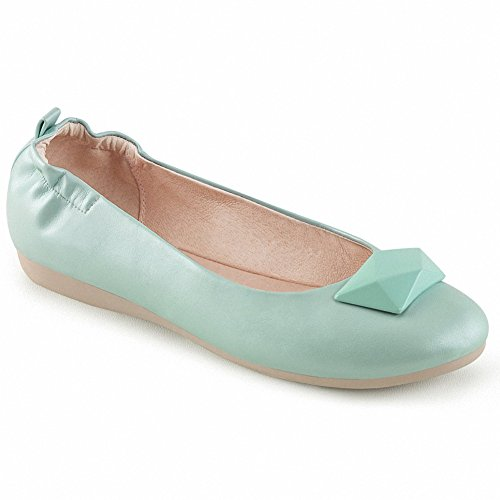 Pin Up Couture Olive-08 Mujeres Punta Redonda Ballet Plegable Flats Con Adornos Geométricos En Toe Aqua Faux Leather