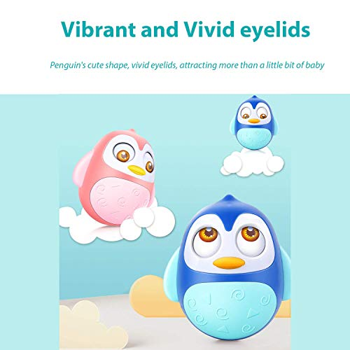 Tummy Time Wobbler Toys for Babies Infant of 1 Year Old Boy Girl, Penguin Roly Poly Tumbler Toy for Babies with Soothing Tinkling Sound, Perfect Sensory Gifts For Baby, Toddlers, Kids (1 Years+), Pink