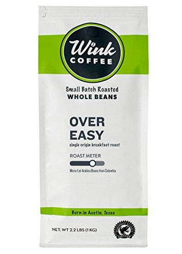 Wink Coffee Over Easy Medium Roast Whole Bean Coffee, Large 2.2 Pound Bag, 100% Arabica Coffee Beans, Single Origin Colombian, Balanced, Fresh and Complex, Sustainable Sourcing