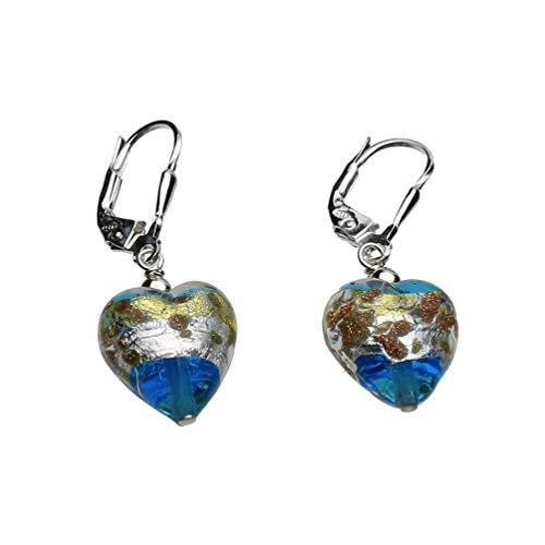 Murano-style Aqua Glass Heart Sterling Silver Leverback Earrings