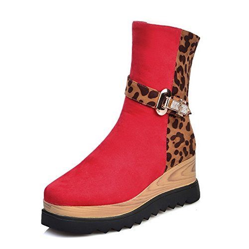 with and Boots Platform Red Allhqfashion PU Frosted Women's Kitten Heels P7w04Yvq0