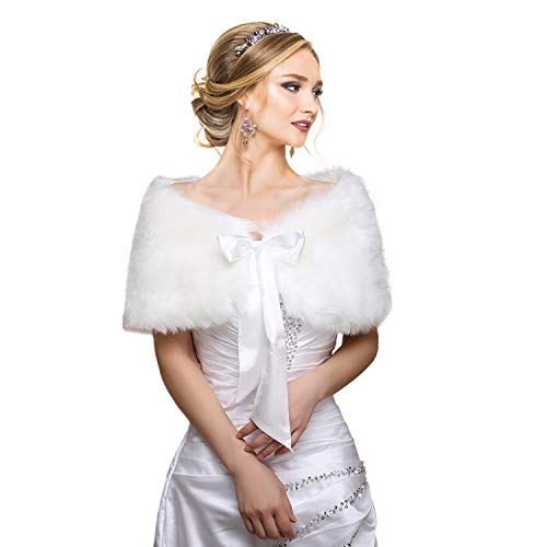 EQLEF® White Faux Fur Wrap Shawl Shrug Bolero Cape Lady Gift with Satin Bowknot, Bridal Ivory Faux Fur Jacket coat shawls stole by EQLEF