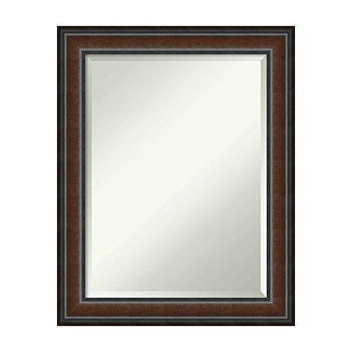 Framed Beveled Glass (Amanti Art Cyprus Walnut Wall Mirror, Medium Large-23 x 29