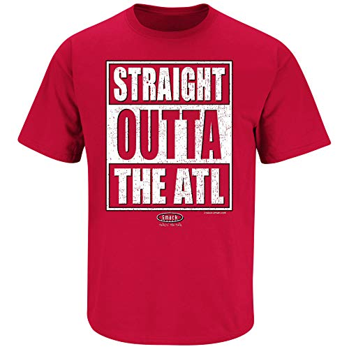 Atlanta Football Fans. Straight Outta The ATL. Red T Shirt (Sm-5X) (Short Sleeve, Large)
