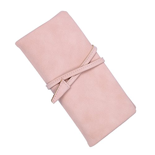 (Women Drawstring Long Wallet Ladies Daily Purse with Multi Card Organizer (Pink))