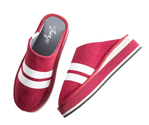 (Zenzee NCAA College Sneakers - Comfy Knit Slip-on Platform Slipper Mule - Perfect for Indoor/Outdoor Wear - Red Varsity Stripe)