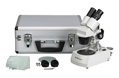 AmScope SE305-PZ-AC Binocular Stereo Microscope, WF10x and WF20x Eyepieces, 10X/20X/30X/60X Magnification, 1X and 3X Objectives, Upper and Lower Halogen Lighting, Reversible Black/White Stage Plate, Arm Stand, 120V, Includes Aluminum Carrying Case