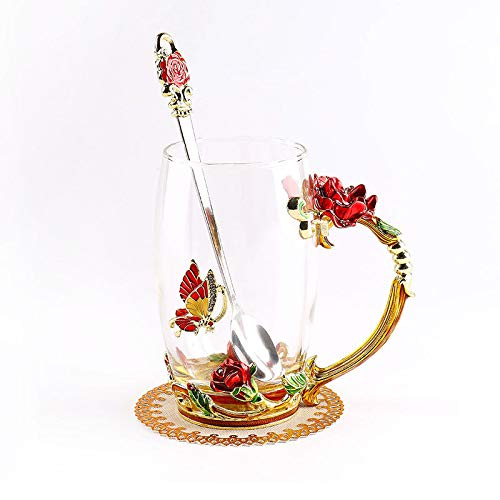 ONEPENG Tea Cups with Spoon Glass Coffee Mugs Enamel Handmade Unique Butterfly Rose Flower For Women Valentine