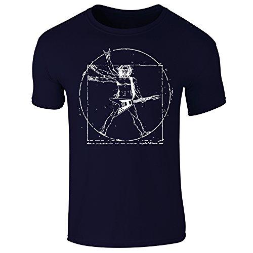 Man Rockstar Navy Vinci Vitruvian Mens shirt Blue T Funny Da Guitar COtqOxnSw