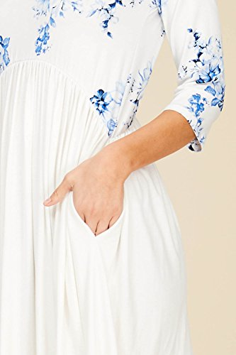 Annabelle Babydoll Dress Sleeve Line A 3 Floral Waist 4 Royal Empire Pocket Swing Women's 8rPnFq8wf