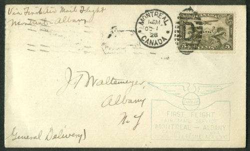 First Canada Air Mail Flight postal cover Montreal-Albany NY 1928