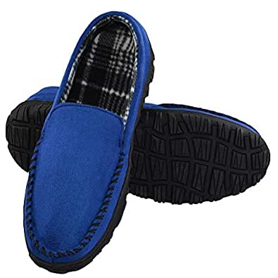 LA PLAGE Men's Advanced Anti-Slip Indoor/Outdoor Moccasin Slippers with Hardsole Size 9 US Blue