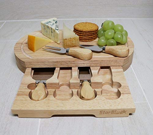 Cheese Board Set by StarBlue - with 4 Knives and Slide Out Drawer | Large Oak Wooden Cheese and Platter Cutting Serving Plate Tray | Best for housewarming and birthday gift