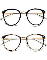 HILBALM Blue Light Blocking Glasses 2 Pack Womens Eyeglasses Frame Glasses