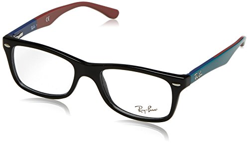 Ray-Ban RX5228 Square Eyeglass Frames, Black On Texture Red/Demo Lens, 55 mm (Ray-bans Rx)