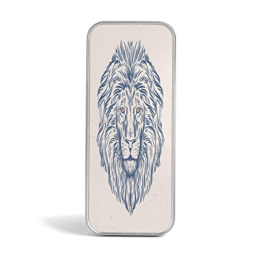 Eco Friendly,Mini Pencil Box,Modern,Gift,Jewelery and Storage Tin Kit,Home Organizer,Portrait of A Lion King of The Forest Wildlife Animal Zodiac Sign Illustration ()