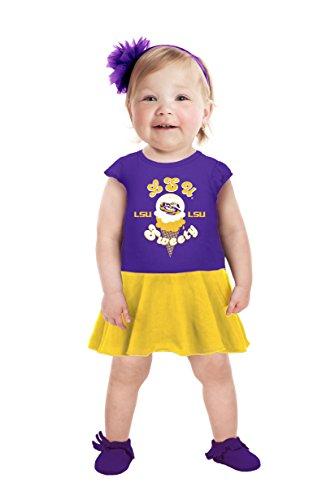 NCAA Lsu Tigers Girls Infant Short Sleeve Full Skirt Dress, 0-3 Months, Purple
