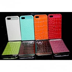 Crocodile Grain PU Leather Luminous Hard Back Case for iPhone 5 5G 5S --- Color:Orange