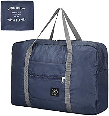 2069684e4615 G4Free Foldable Travel Duffel Bag Lightweight Carry-on Luggage Tote Bag for  Airlines Trip (Navy Blue)