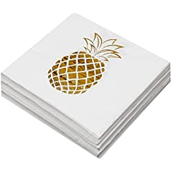 Geeklife Gold Paper Napkins,Sparkly Gold Pineapple Paper Napkins Bulk for for Wedding,Party,Cocktail and Anniversary Dinner,2-ply,100 pcs
