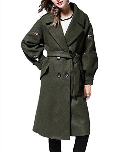 rompevientos Green cachemira patrón Otoño botonadura mujeres de doble cintura chaqueta las Outwear de engrosamiento con Slim solapa bordado Fit Decoración de de abrigo lana PwzgPqcW6