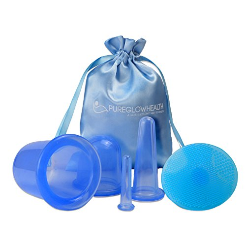 Soft Therapy Cupping Set Pain Relieving - Relaxing Circulation Improving Soft Silicone Body, Back and Face Massager, Post Gym, Workout or Sports Tension and Stress Reliever (4 Cups) from PureGlowHealth
