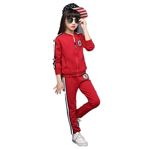 FTSUCQ Girls Zip Front Sports Tracksuits Striped Shirt Jacket Coat + Pants,Red 140 by FTSUCQ (Image #5)