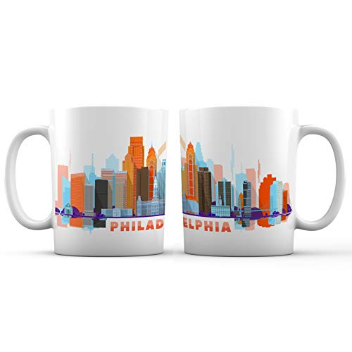 (Philadelphia City Skyline View Ceramic Coffee Mug - 11 oz. - Awesome New Design Colorful Decorative Souvenir Gift Cup for Visiting Friends, Tourists, Men and Women,)