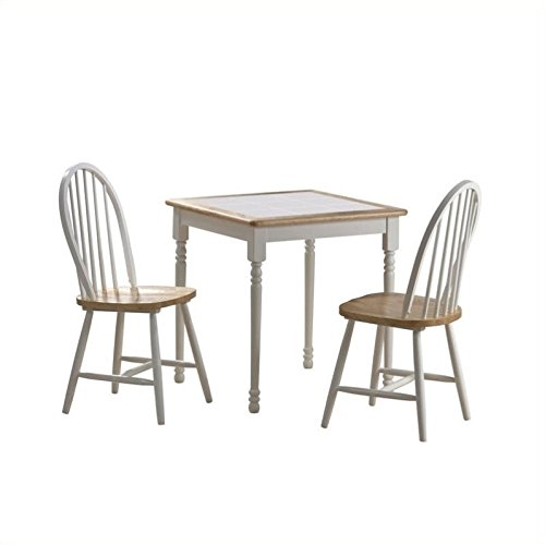 Tile Top Dinette (3-Pc Square Tile Top Dining Set in White and Natural Finish)