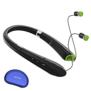 [Upgraded]2017 Bluetooth Foldable Headphones Neckband Wireless Earphones Sport Running Bass Sweatproof Earbuds for iPhone Samsung HTC LG Smartphones Tablets PC