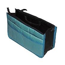 Elaxor™ Portable & Expandable 13 Pocket Handbag Insert, Comestic Makeup Travel Handbag, Purse Organizer Insert Pockets, Diaper Bag Organizer Insert Pockets (Sky Blue)