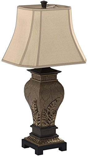 Lite Source C41225 Table Lamp with Tan Fabric Shades, Bronze