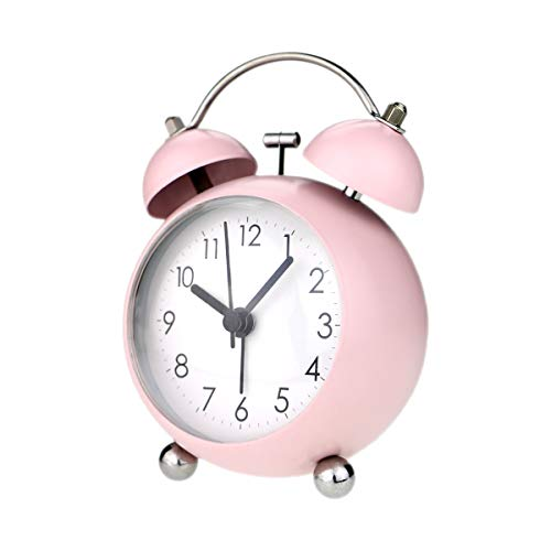 "PILIFE 3"" Small Twin Bell Alarm Clock,Cute with Backlight and Loud Alarm to Wake You Up,Silent Working Perfect for Bedroom and Work(Pink)"