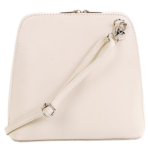 Primo Sacchi Italian Cream Smooth Leather Small Cross Body or Shoulder Bag Handbag