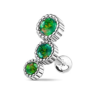16G Triple Round Synthetic Opal Inspiration Dezigns Cartilage/Tragus Barbell Stud (Sold Individually) (Steel/Green)
