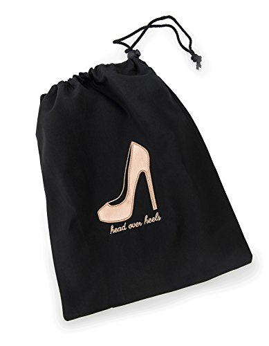 """41eh9 8RMxL - Miamica Women's Head Over Heels"""" Travel Shoe Bag Packing Organizers, Black/Rose Gold"""