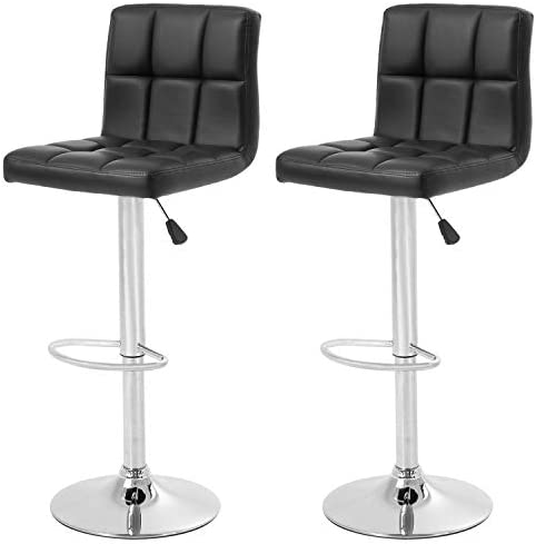 OffiClever Modern Bar Stool Set of 2 Counter Height Barstools Heigh Adjustable Swivel Bar Stool PU Leather Bar Chairs Home Kitchen Stools Hydraulic Dining Room Chairs