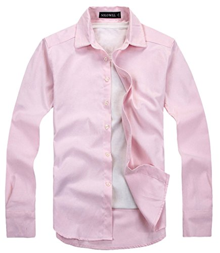 Qiuse Men's Button Through Casual Oxford Shirt X-Small Pink