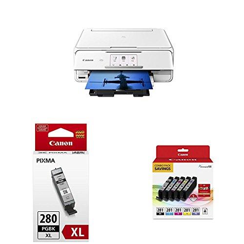 Price comparison product image Canon TS8120 Wireless AIO Printer, White with PGI-280XL and CLI-281 Combo Pack
