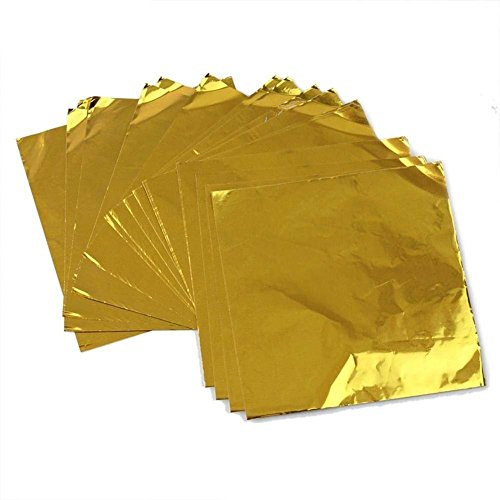 1Pack(100pcs) 8cm X 8cm Embossing Aluminum Foil-- Square Chocolate Candy Sweets Paper Aluminum Foil Wrappers (gold) -