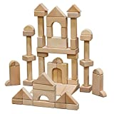 ECR4Kids Hardwood Unit Block Play Set with Canvas Carry Case - Educational Wood Building Block Kit, Natural Finish (64-Piece Set)