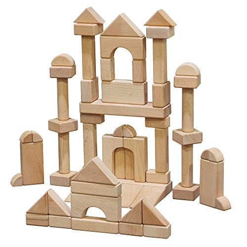 - ECR4Kids Hardwood Unit Block Play Set with Canvas Carry Case - Educational Wood Building Block Kit, Natural Finish (64-Piece Set)