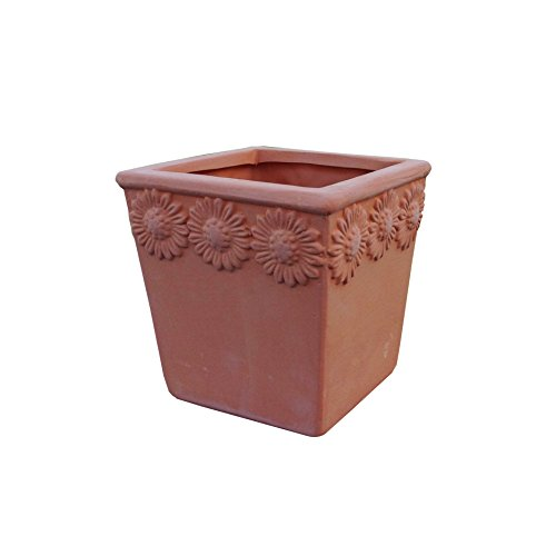 Set of 3 Natural Terra Cotta Flower Embellished Square Shaped Garden Planters with Drain Holes - Embellished Square